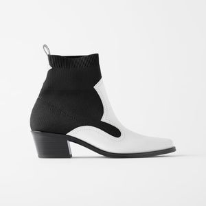 Zara Leather Stretch Heel Ankle Cowboy Boots 9